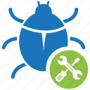 bug, business, business icon, businessman, fixing, seo icon