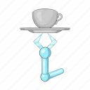 arm, cartoon, future, holding, mug, robot, tray icon