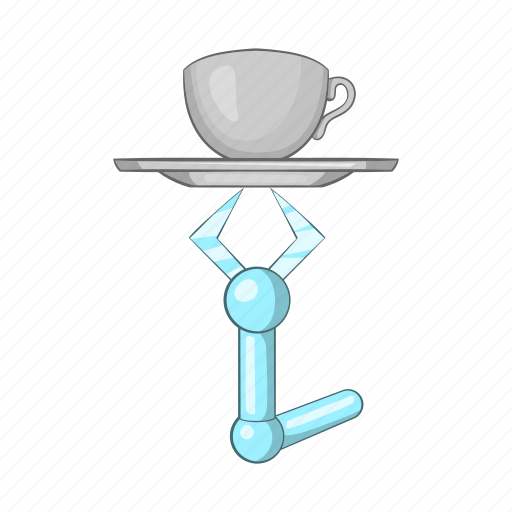 arm, cartoon, future, holding, mug, robot, tray icon