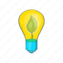 bulb, cartoon, eco, future, green, lamp, light icon