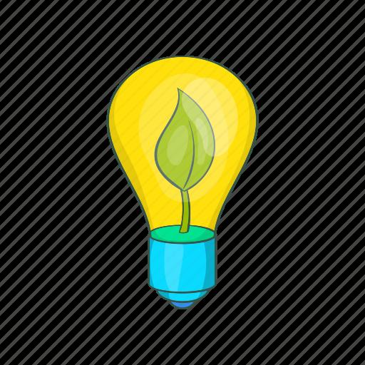 bulb, cartoon, eco, future, green, lamp, light icon