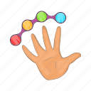 cartoon, color, decoration, future, hand, object, press icon