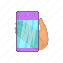 cartoon, future, futuristic, glass, phone, smartphone, transparent icon