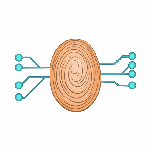 biometric, cartoon, fingerprint, future, hand, scanning, technology icon