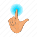 cartoon, finger, future, hand, press, screen, touch icon