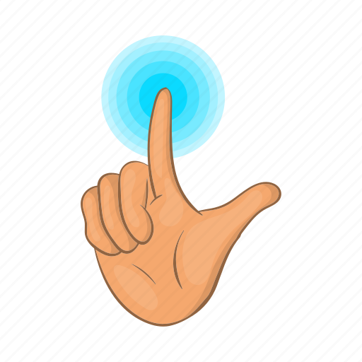 Cartoon, finger, future, hand, press, screen, touch icon - Download on Iconfinder