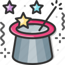 magic hat, magic trick, magician, party, rabbit icon