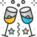 alcohol, champagne, champagne glass, cheers, glass icon