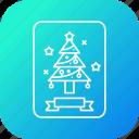 card, christmas, greetings, pine, tree icon