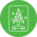 card, christmas, greetings, pine, tree icon