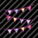 birthday, celebration, festival, flag, gift icon