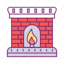 chimney, fire, fire house, firehouse, flame, hot, winter icon