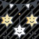 stars, decoration, festival, celebration icon