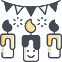 candle, fire, flame, christmas icon