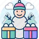 snowman, winter, christmas, newyear, gift icon