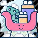 sleigh, sled, transportation, winter icon
