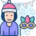 mask, carnival, party, facemask, newyear icon