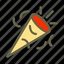 cone, confetti, newyears, party icon, popper icon icon