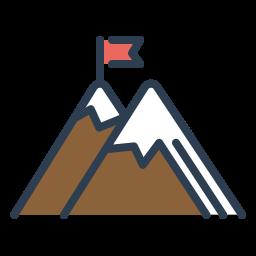 achieve, flag, goal, mountains, peak, resolutions, trip icon
