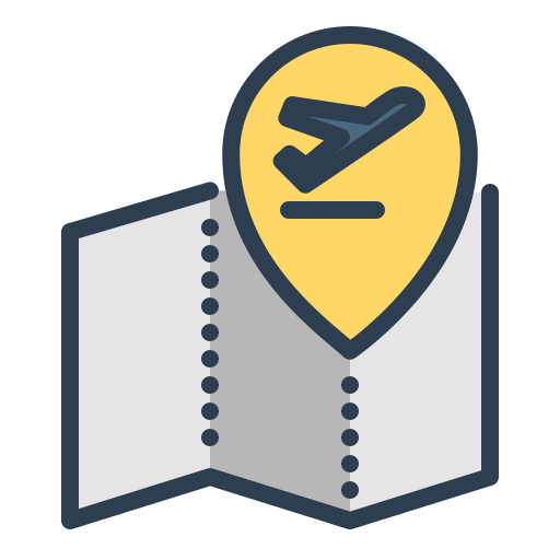 airplane, map, travel, vacation icon