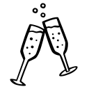 celebration, champagne, glasses, new year, party icon
