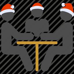 agreement, conversation, dialog, negotiation, new year, trading, trio icon