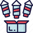 box, december, firework, holidays, new years, rockets icon