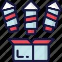 box, december, firework, holidays, new years, rockets