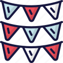 bunting, celebration, december, holidays, new years icon