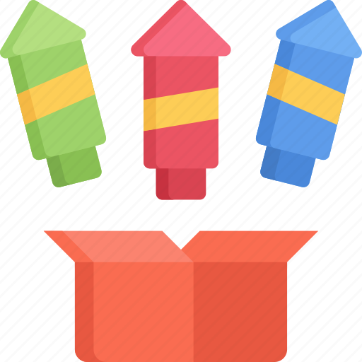 box, december, firework, holidays, new years, rockets icon