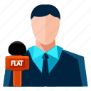 interviewer, male, man, news, reporter icon
