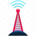 news, reporting, satellite, tower, wireless icon