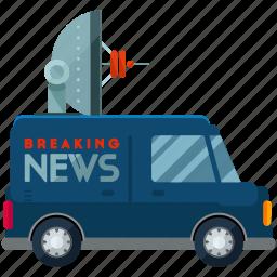 news, transport, transportation, van, vehicle icon