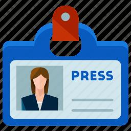 identification, news, press, reporter, woman icon