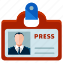 identification, male, man, news, reporter icon