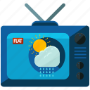 cloud, female, news, sun, television, weather icon