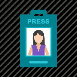 anchor, card, employee, female, id, media, profile icon
