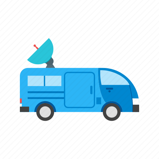 channel, news, satellite, television, van, vehicle, view icon