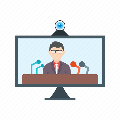business, conference, internet, live, online, press, technology icon