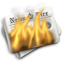 burn, flames, hot, newspaper icon
