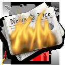 burn, flames, hot, newspaper icon
