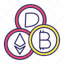 bitcoin, crypto, cryptocurrency, dash, e-money, ethereum, mining icon