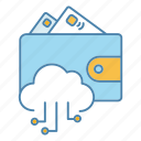 cloud computing, digital, e-payment, e-wallet, electronic, money, wallet icon