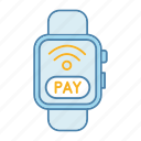 contactless, e-payment, nfc, pay, smartwatch, wireless, wristwatch icon