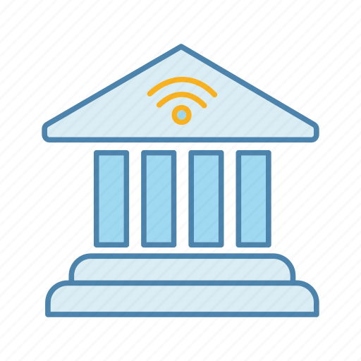 bank, banking, building, e-payment, internet, nfc, online icon