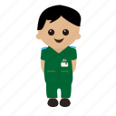 cartoon, male, nhs, nurse, paramedic, uniform icon
