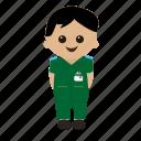 cartoon, male, nhs, nurse, paramedic, uniform icon