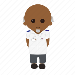 bald, cartoon, male, nhs, nurse, tunic, uniform icon