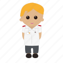 blonde hair, cartoon, male, nhs, nurse, nursing, tunic icon
