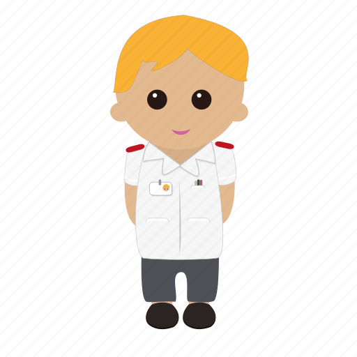 blonde hair, cartoon, male, nhs, nurse, nursing, tunic icon